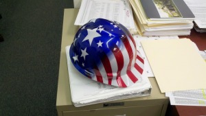 TW Perry shows their USA pride with American Flag hard hats!